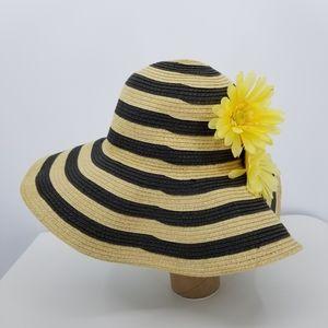 J. Crew Striped Floppy Summer Straw Beach Hat